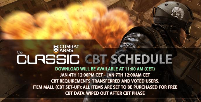 Combat Arms: the Classic CBT Schedule